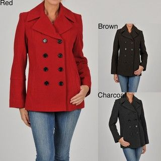 Womens Double breasted Wool blend Peacoat