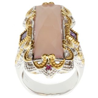 Michael Valitutti Two tone Rose de France, Amethyst and Sapphire Ring