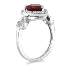 10k White Gold Garnet and Diamond Heart Ring (H I, I1 I2)