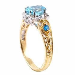 Michael Valitutti 14k Two tone Blue CZ, Paraiba Apatite and Diamond