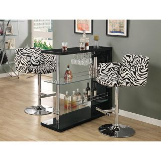 Metal Chrome/ Zebra Hydraulic Lift Bar Stool