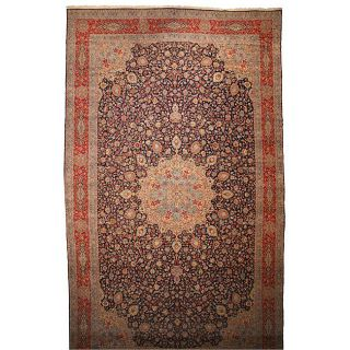 Hand knotted Navy Wool Lavar Kerman Rug (164 x 27)