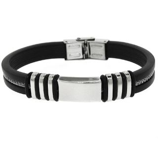 Two tone Stainless Steel And Black Rubber Mens Bracelet