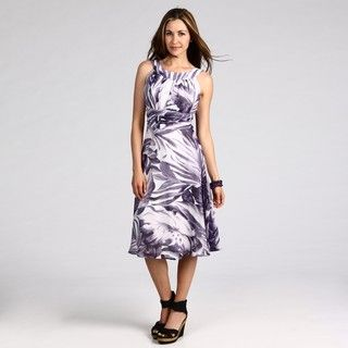 Connected Apparel Womens Purple Printed Dress