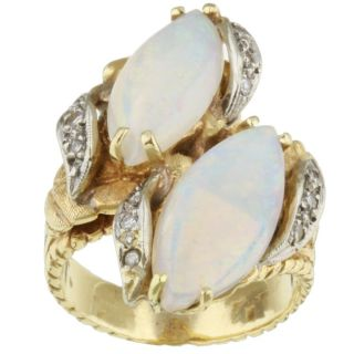 14k Yellow Gold Opal and 1/6ct TDW Diamond Ring