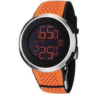 Gucci Mens I Gucci Black Digital Dial Orange Rubber Strap Watch