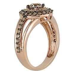 14k Pink Gold 1ct TDW Brown and White Diamond Circle Ring (H I, I1 I2