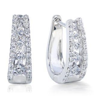14k White Gold 1/2ct TDW Diamond Cuff Earrings (H I, VS1 VS2