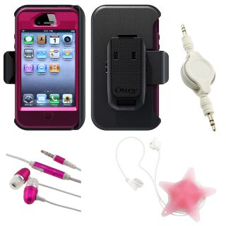 BasAcc Pink Otterbox Case/ Headset/ Wrap/ Cable for Apple iPhone 4S