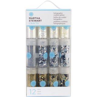 Martha Stewart Holographic Glitter 12/Pk Whites and Metallics