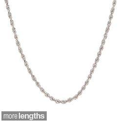 Roberto Martinez 14k White Gold Diamond cut Rope Chain Necklace (1.5