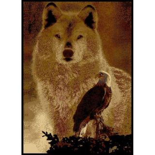 Alexa Cameo Wolf/ American Eagle Brown Rug (53 x 79)