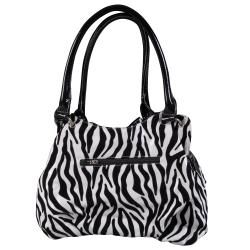Journee Collection Womens Flower Detail Zebra Print Hobo Bag