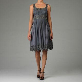 Adrianna Papell Evening Womens Beaded Chiffon Dress