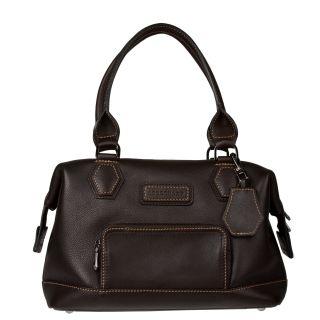 Longchamp Chocolate Leather Satchel Handbag