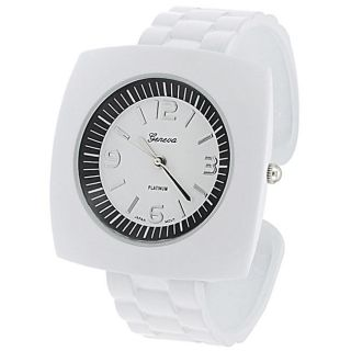 Geneva Womens Platinum White Square Case Cuff Watch