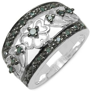 Malaika Sterling Silver 1/3ct TDW Blue Diamond Filigree Flower Ring