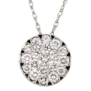 14k White Gold 1/2ct TDW Diamond Cluster Necklace (G H, I1
