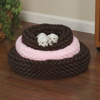 Slumber Pet Chocolate Brown or Pink Swirl Plush Donut Bed