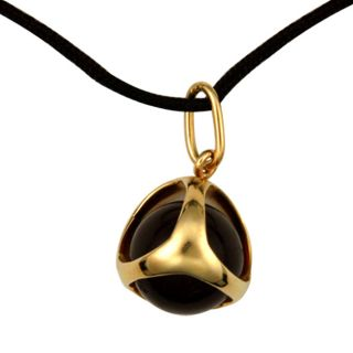 Di Modolo 18k Gold Amber Black Silk Necklace