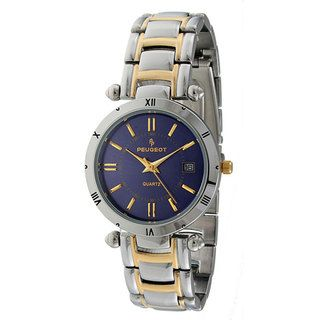 Peugeot Mens Two tone Blue Dial Watch