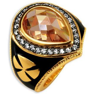 Simon Frank 14k Gold Overlay Mens CZ and Enamel Brotherhood Ring