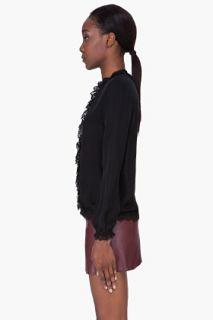 Haute Hippie Black Silk Lace Trim Blouse for women