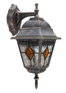 Edle Wandaußenleuchte Außenlampe Hoflampe in antik gold Wandlampe