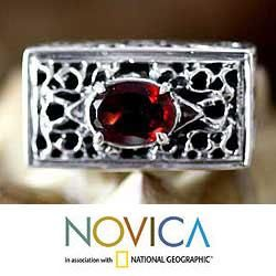Sterling Silver Filigree Royal Coronation Garnet Ring (Indonesia