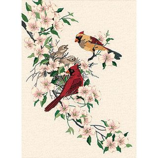 Cardinals In Dogwood Crewel Embroidery Kit