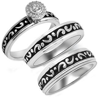 Sterling Silver 1/10ct TDW Diamond His and Her Matching Engagement and