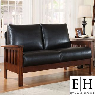 ETHAN HOME Hills Collection Bi cast Leather Loveseat