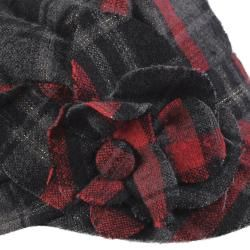 Adi Designs Womens Flower Detail Plaid Military Cap