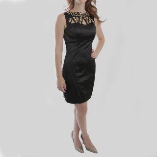 Corey P Womens Missy Black Beaded Cutout Pencil Dress