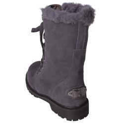 Bearpaw Womens Kayla Suede Sheepskin lined Lace up Lug Sole Boots