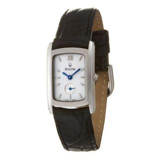Bulova Womens Stainless Steel Case Leather Strap Quartz Watch