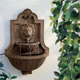 Weathered stone Appearance Lion Head Fountain Patio, Lawn