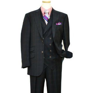 Super 140s Wool Vested Suit 31819 1/9 (48L, Navy Blue) Clothing