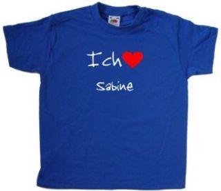 Ich Liebe Sabine Kinder T Shirt, Blau Bekleidung
