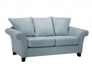 Provence Sky Blue Microfiber Flared Arm Sofa