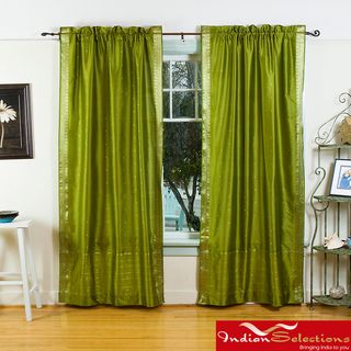 Olive Green Sheer Sari 84 inch Rod Pocket Curtain Panels (India