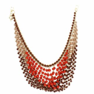 NEXTE Jewelry Brass Multi row Brown and Orange Bead Bib Necklace