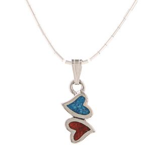 Southwest Moon Double Hearts Turquoise and Coral Inlay Liquid Metal