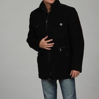 Andrew Marc Mens Black Plush Wool Coat FINAL SALE