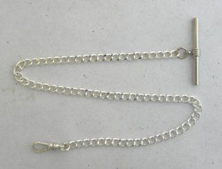 145 3 New Silver Plated Pocket Watch Chain w/ T Bar and Watch Swivel