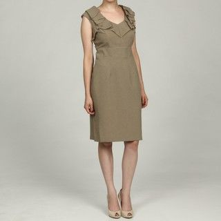 Karin Stevens Womens Tan Drape Neck Detail Dress