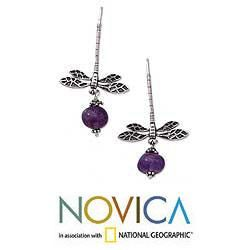 Sterling Silver Dragonfly Amethyst Earrings (Mexico)