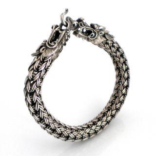 Double Dragon Silver Braided Bracelet (Thailand)