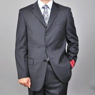 Mantoni Mens Solid Black 3 button Suit