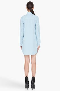 T By Alexander Wang Blue Chambray Shirt Dress for women